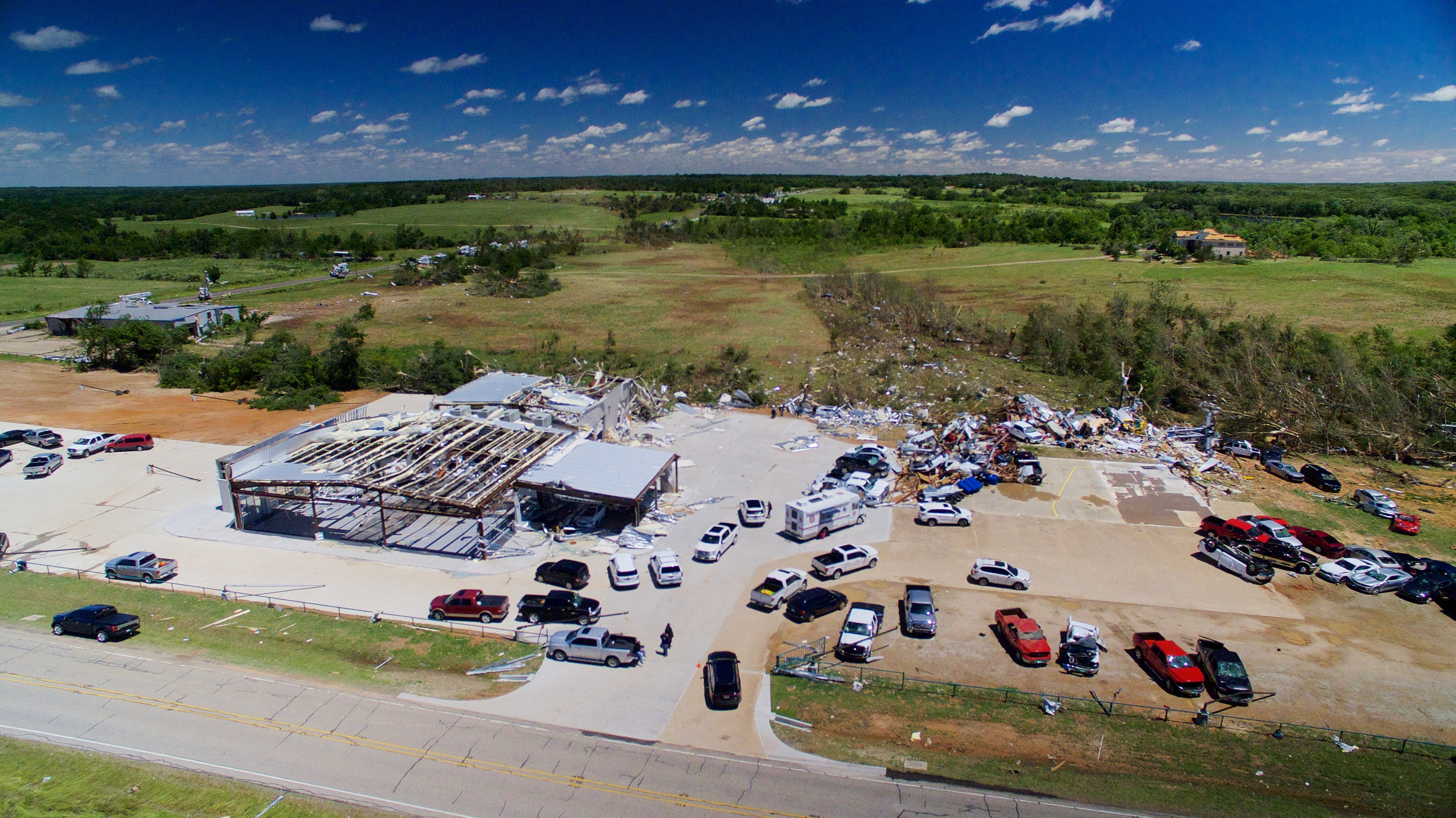 A business damaged by tornadoes is seen from an unmanned aerial vehicle in Canton, Texas on April 30, 2017. (REUTERS/Brandon Wade)