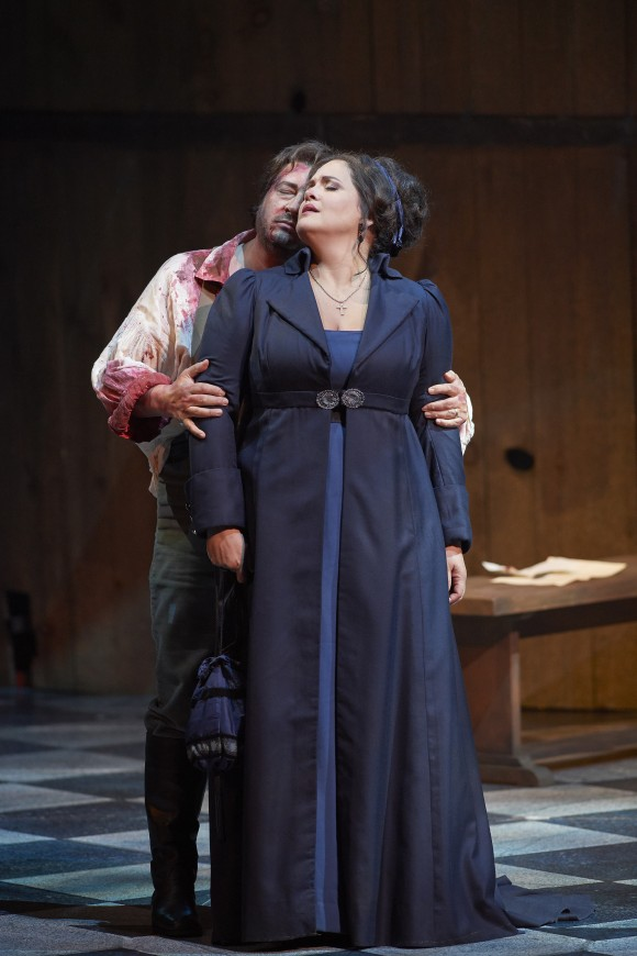 "Tenor Kamen Chanev as Cavaradossi and soprano Keri Alkema as Tosca in the Canadian Opera Company's production of ""Tosca,"" 2017. (Michael Cooper)"