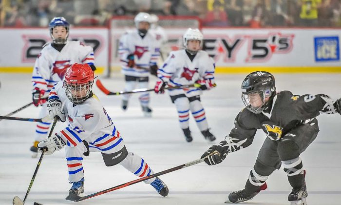 Beijing-Galaxy-Whalers (white) win against Beijing-Little-Wolves in the Mini-Squirt-A Final at the Mega Ice Hockey 5's on Saturday April 29, 2017. (Mega Ice)