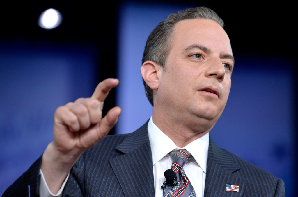 White House Chief of Staff Reince Priebus during a discussion at the Conservative Political Action Conference (CPAC) at National Harbor, Maryland on Feb. 23, 2017. (MIKE THEILER/AFP/Getty Images)