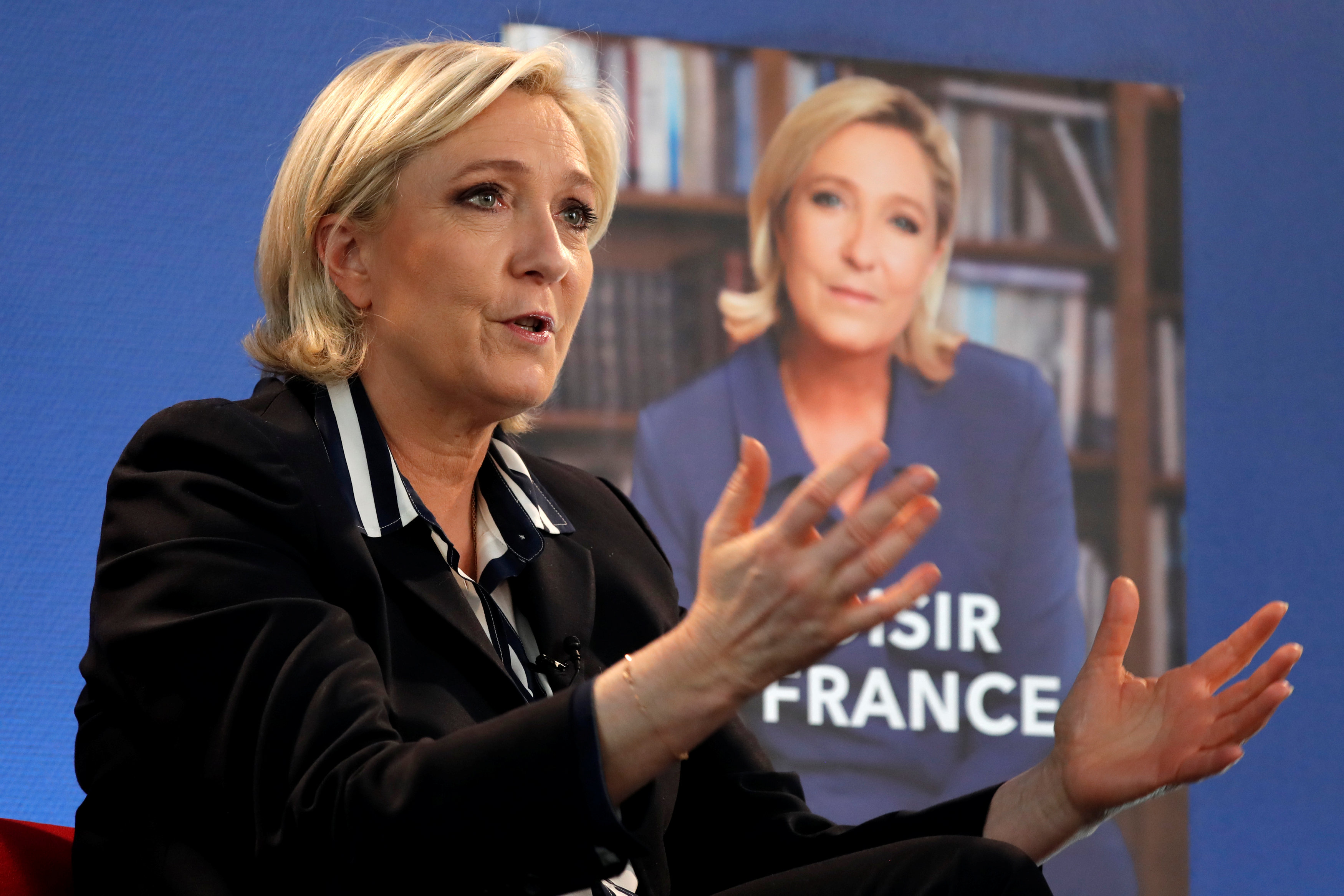 Marine Le Pen, French National Front (FN) candidate for 2017 presidential election, during an interview with Reuters in Paris, France on May 2, 2017. (REUTERS/Charles Platiau(