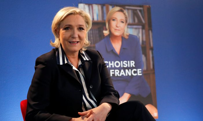Marine Le Pen, French National Front (FN) candidate for 2017 presidential election, poses before an interview with Reuters in Paris, France on May 2, 2017. (REUTERS/Charles Platiau)