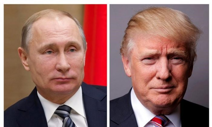 Russian President Vladimir Putin at the Novo-Ogaryovo state residence outside Moscow, Russia, January 15, 2016 and President Donald Trump posing for a photo in New York City on May 17, 2016. (REUTERS/Ivan Sekretarev/Pool/Lucas Jackson)