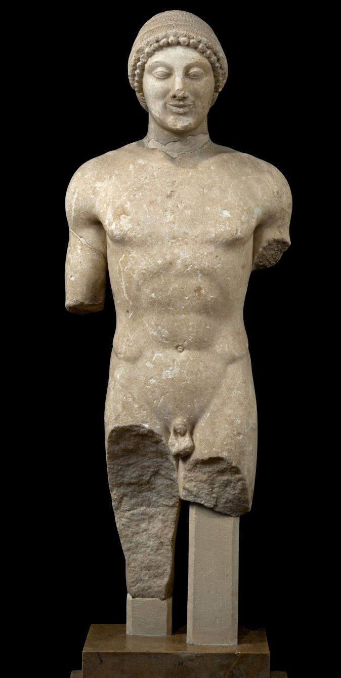 Statue of a Kouros. Marble, ca. 500 BC, from the Sanctuary of Apollo at Ptoos. National Archaeological Museum, Athens; Hellenic Ministry of Culture and Sports–Archaeological Receipts Fund. (Kostas Xenikakis)
