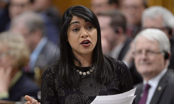 Government House Leader Bardish Chagger answers a question in the House of Commons on March 23, 2017. (THE CANADIAN PRESS/Adrian Wyld