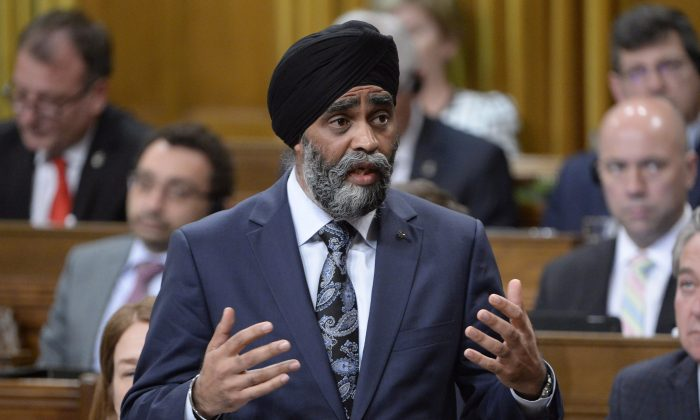 Defence Minister Harjit Sajjan responds to a question in the House of Commons on May 2, 2017. (The Canadian Press/Adrian Wyld)