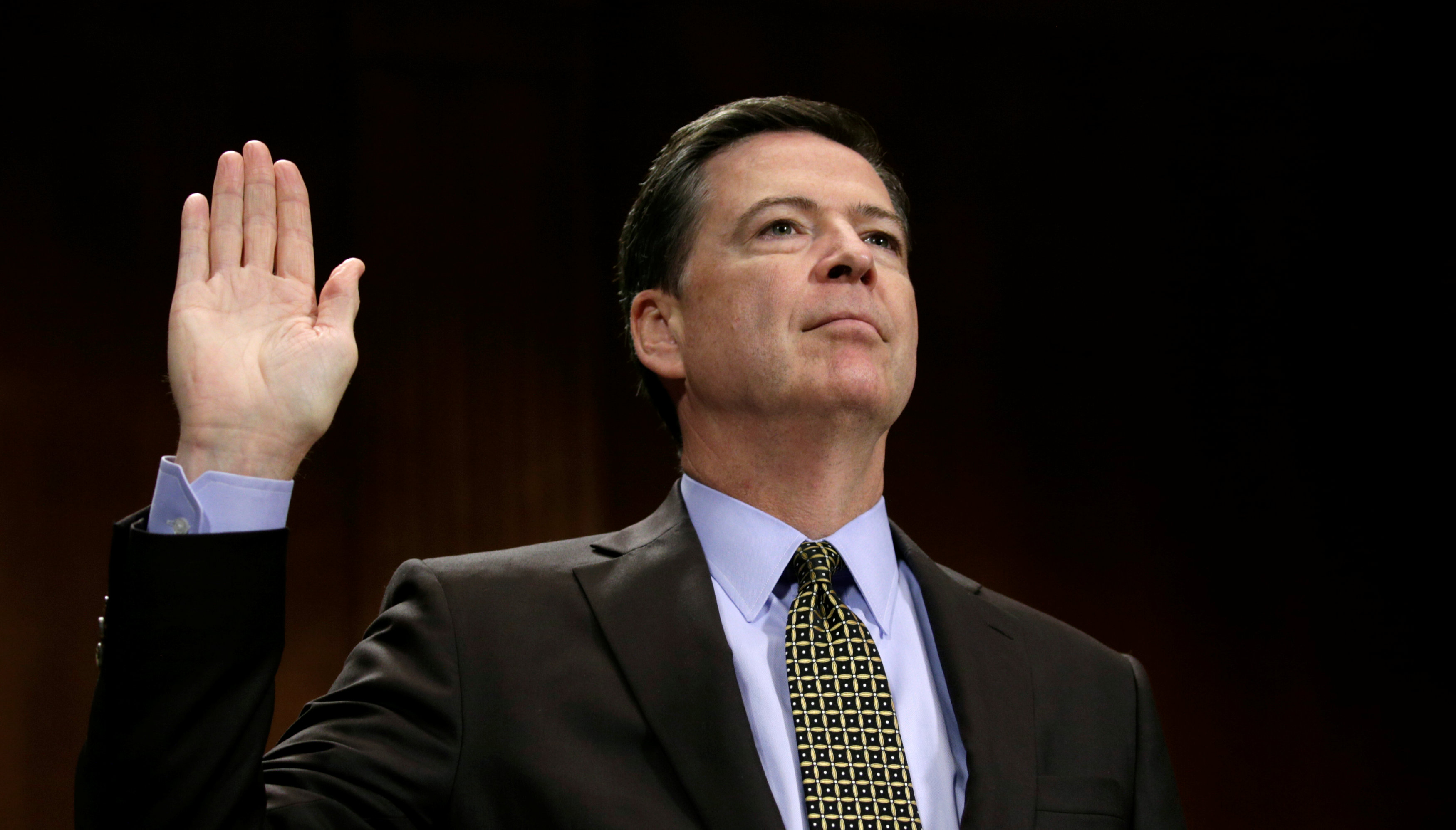 "FBI Director James Comey is sworn in to testify before a Senate Judiciary Committee hearing on ""Oversight of the Federal Bureau of Investigation"" on Capitol Hill in Washington on May 3, 2017. (REUTERS/Kevin Lamarque)"