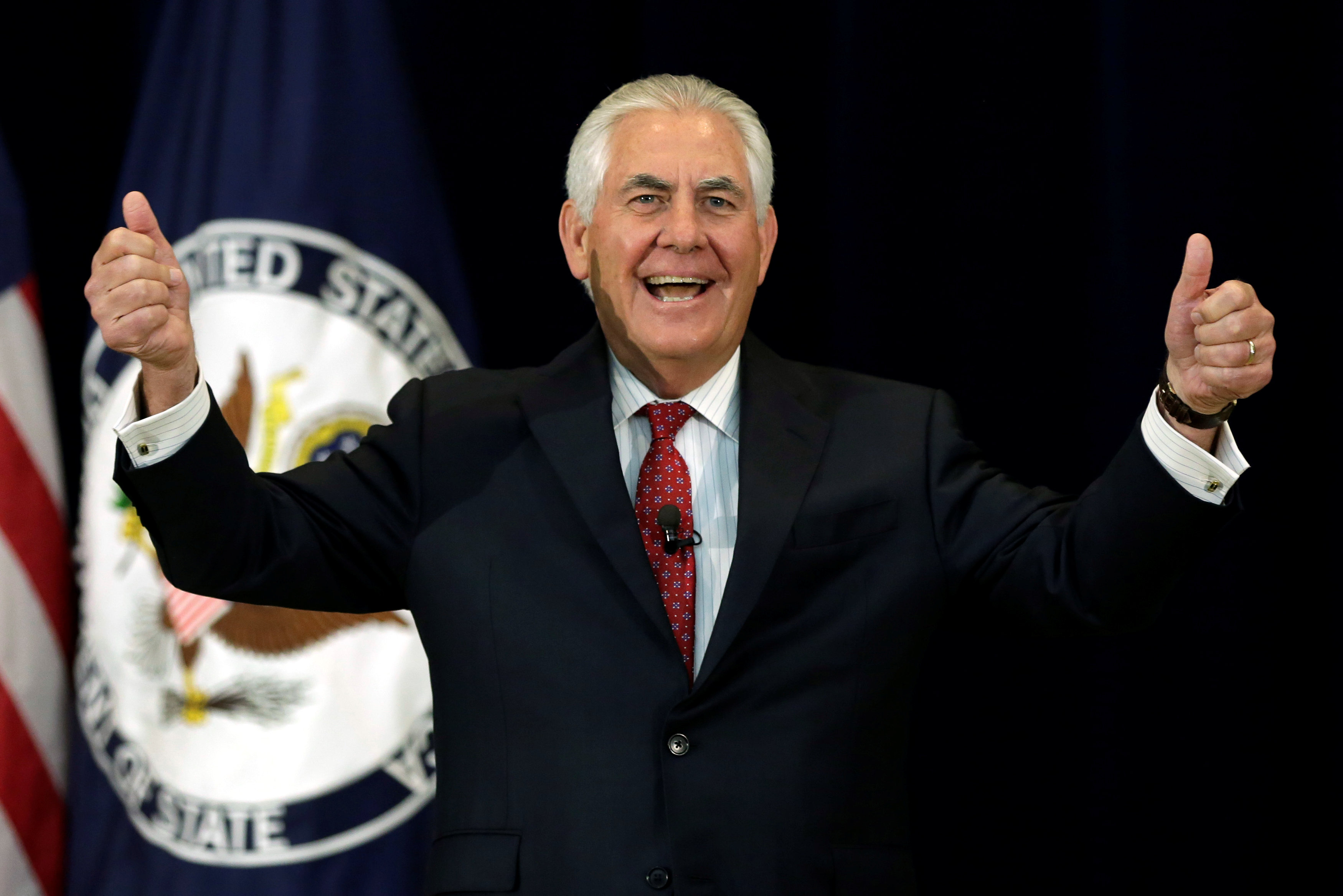 Secretary of State Rex Tillerson gestures before delivering remarks to the employees at the State Department in Washington on May 3, 2017. (REUTERS/Yuri Gripas)