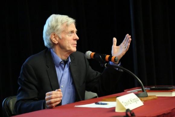 David Kilgour speaks following the screening of