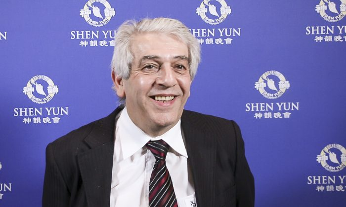 Jean-Jacques Belhasen, creator and leader of the Lana Di Capra brand, attended the Shen Yun's opening night in Paris on April 21, 2017. (NTD Television)