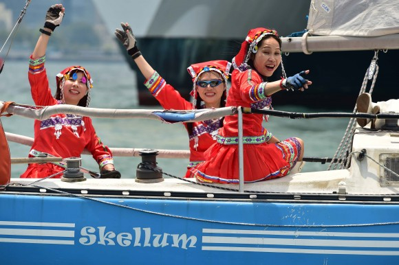 Maidens of Hong Kong sailing 'Skellum' during the RHKYC Nations Cup on Sunday April 30, 2017. (Bill Cox/Epoch Times)