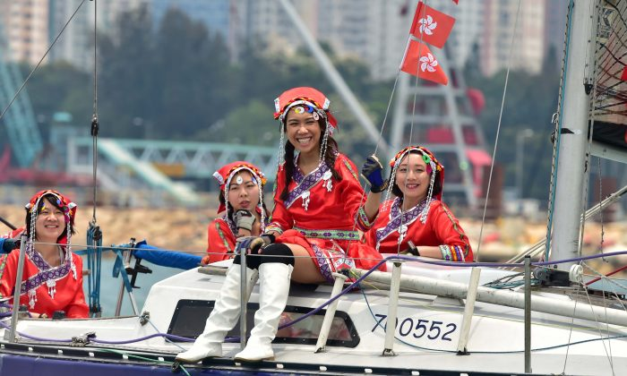 Flying the flag: Hong Kong maidens sailing Ruffian, 'Larrikin' in the RHKYC's Nations Cup in Victoria Harbour on Sunday April 30, 2017. (Bill Cox/Epoch Times)