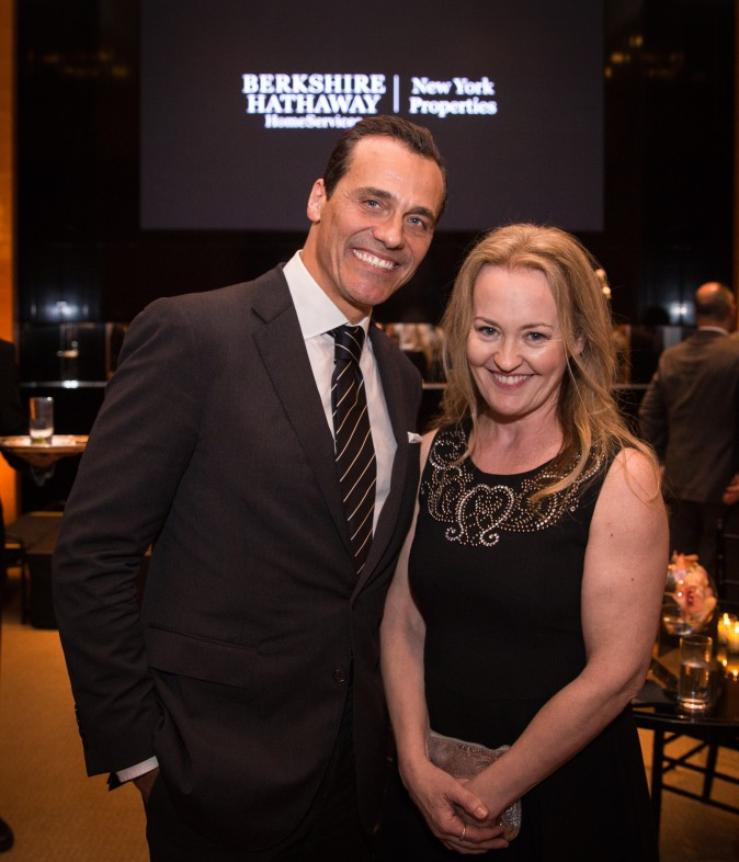 Claudio Prattico and Anne Flanagan at the Berkshire Hathaway HomeServices New York  celebration. (Benjamin Chasteen/The Epoch Times)