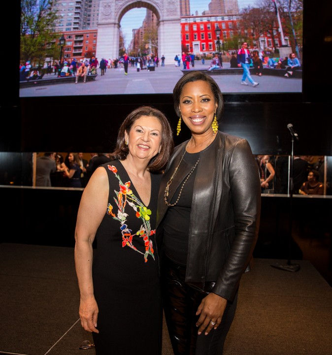 Ellie Johnson, president of the Berkshire Hathaway HomeServices New York Properties, with a guest at the Berkshire Hathaway HomeServices New York  celebration. (Benjamin Chasteen/The Epoch Times)