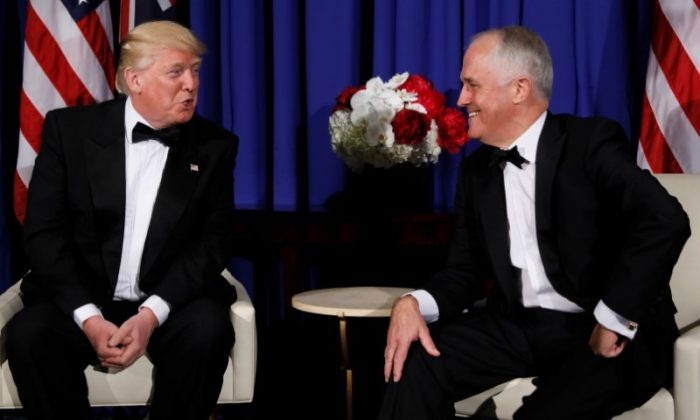 President Donald Trump (L) and Australia's Prime Minister Malcolm Turnbull (R) deliver brief remarks to reporters as they meet ahead of an event commemorating the 75th anniversary of the Battle of the Coral Sea, aboard the USS Intrepid Sea, Air and Space Museum in New York on May 4, 2017. (REUTERS/Jonathan Ernst)