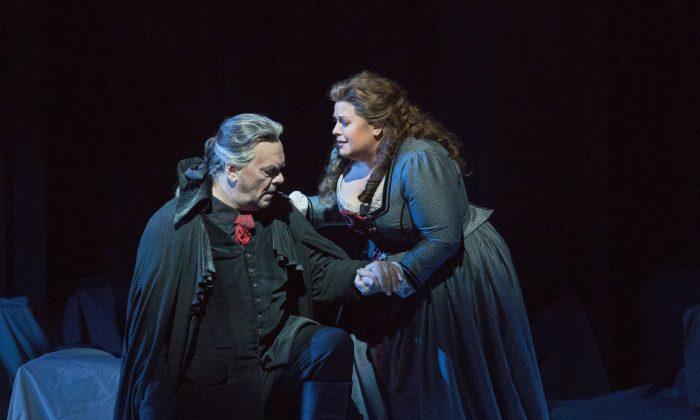 Michael Volle as Holländer and Amber Wagner as Senta in Wagner's Der Fliegende Holländer. (Richard Termine/Metropolitan Opera(