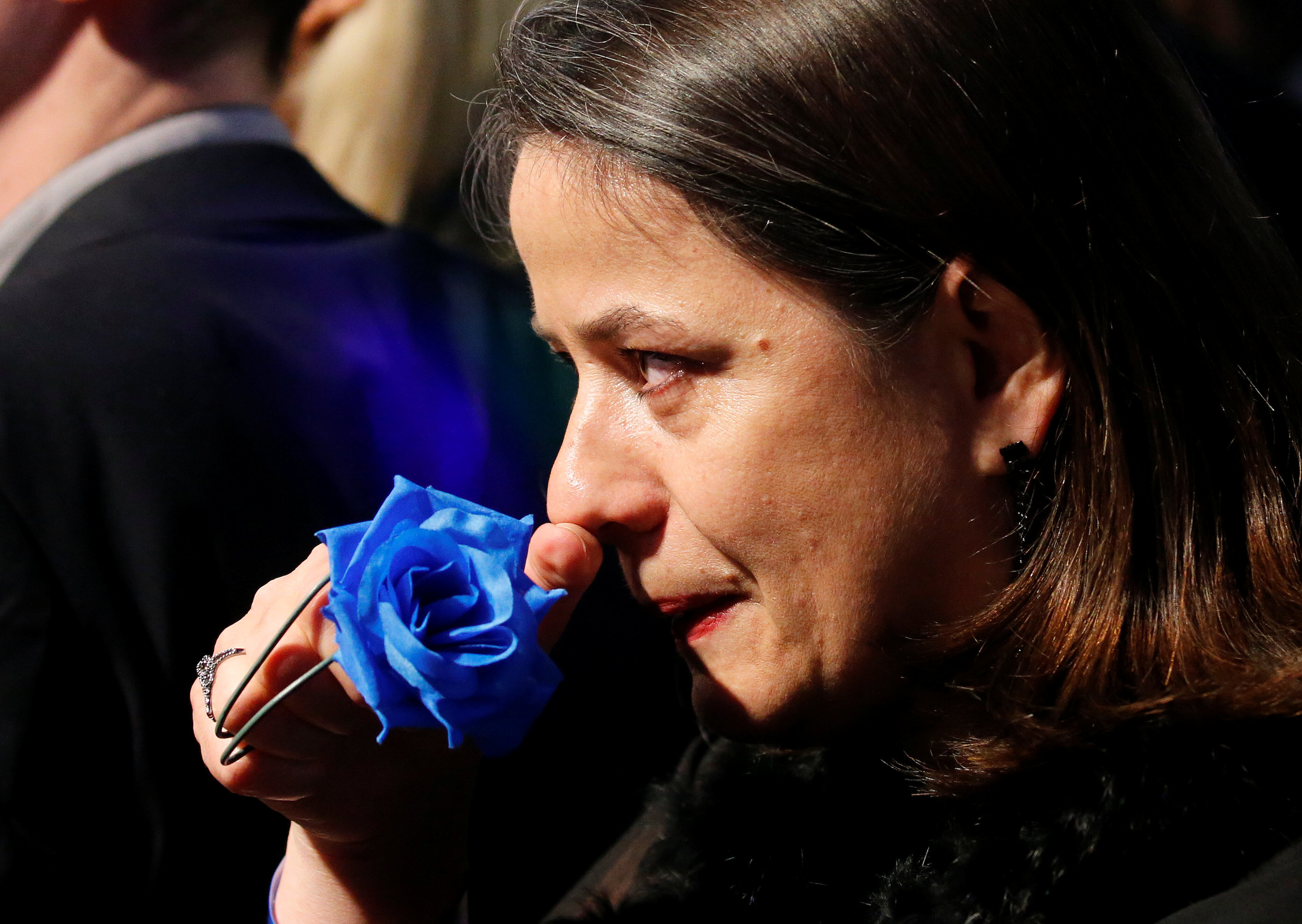 A supporter of Marine Le Pen, French National Front (FN) political party candidate for French 2017 presidential election, in tears at her campaign headquarters after her defeat in the secound round of 2017 French presidential election, Paris, France on May 7, 2017.   (REUTERS/Pascal Rossignol)