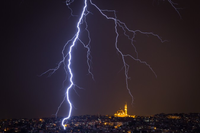 Lightning strikes over the Istanbul skyline during a thunderstorm on May 7, 2017. (Chris McGrath/Getty Images)