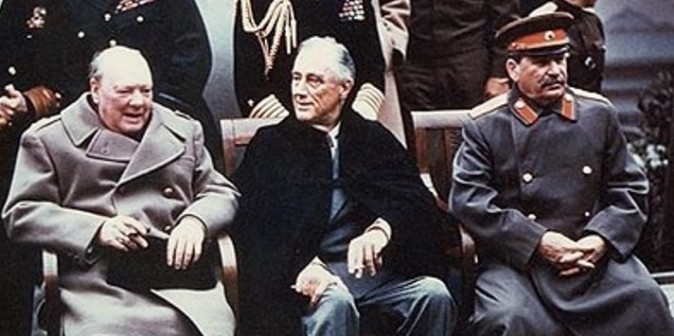 From left to right: British prime minister Winston Churchill, U.S. President Franklin Roosevelt, and Soviet dictator Joseph Stalin at the Yalta Conference in 1945. (Public Domain)