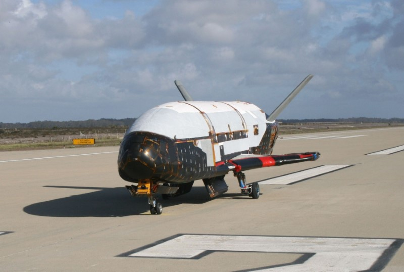 The X-37B Orbital Test Vehicle taxis on the flightline during testing at the Astrotech facility in Titusville, Fla., on March 2010. (REUTERS/U.S. Air Force)