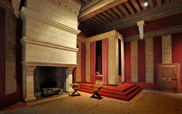 Royal Bedroom-Chateau of Chambord: One of the chateau's royal bedrooms, embellished in gold finishing's.  (Courtesy of Chateau of Chambord)