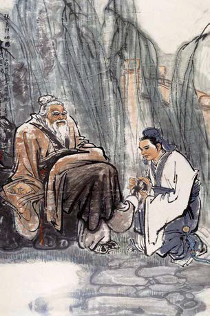 Zhang Liang respected the elder and put his shoes on for him.