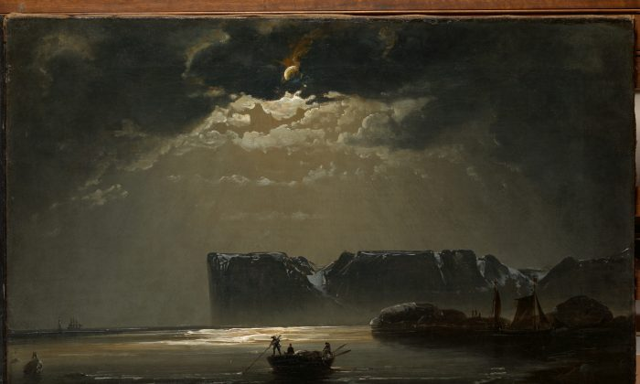"""The North Cape by Moonlight,"" 1848, by Peder Balke. Oil on canvas, private collection, Oslo. (The Metropolitan Museum of Art)"