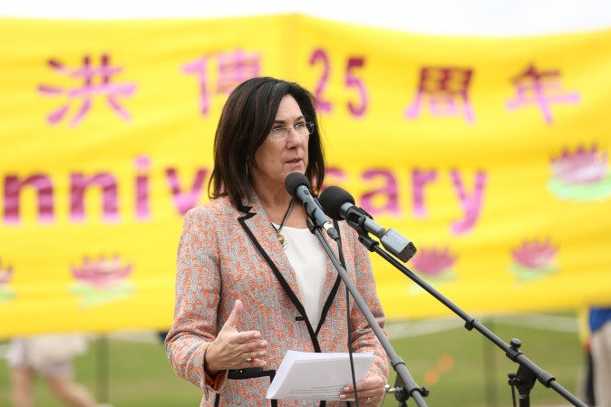 Cheryl Hardcastle, NDP MP and vice-chair of the Subcommittee for International Human Rights, speaks at a celebration on Parliament Hill marking the 25th anniversary of Falun Gong, May 9, 2017. (Evan Ning/Epoch Times)