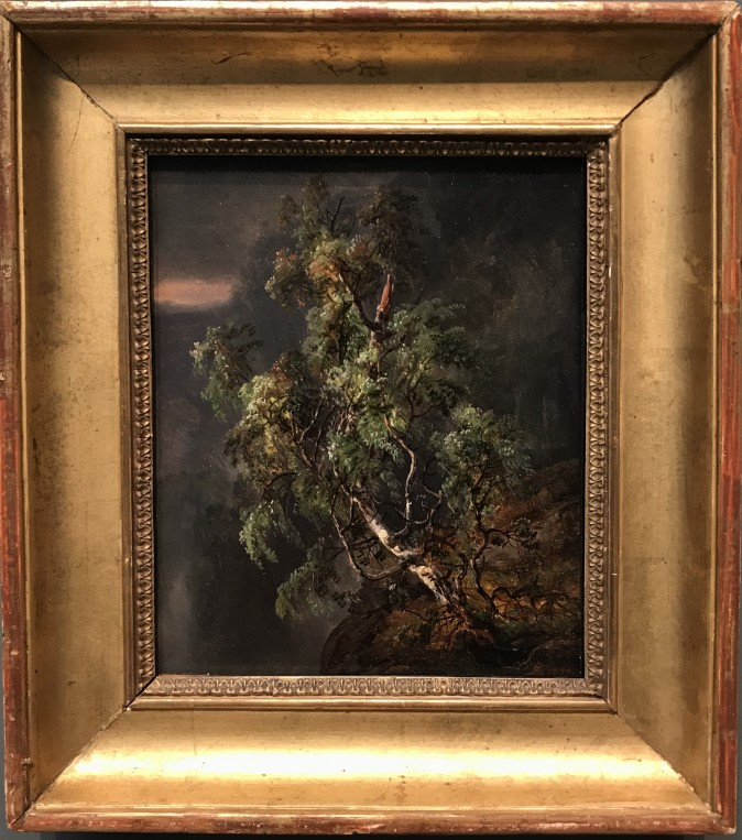 """Birch Tree in a Storm,"" 1849, by Johan Christian Dahl (Norwegian, 1788–1857). Oil on paper, laid down on cardboard, the collection, jointly owned by The Metropolitan Museum of Art and The Morgan Library & Museum, Gift of Eugene V. Thaw, 2009. (Milene Fernandez/The Epoch Times)"