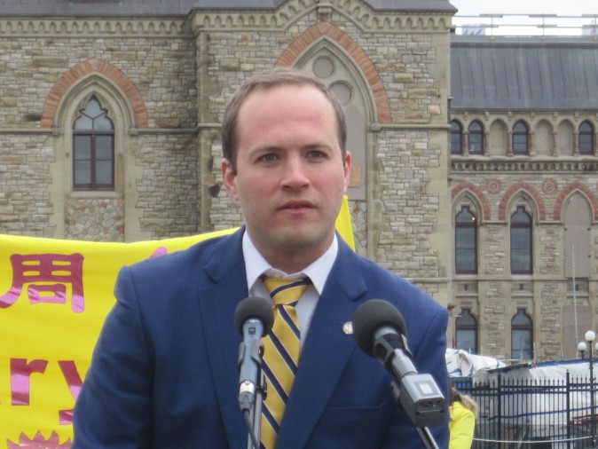 Liberal MP Nathaniel Erskine-Smith speaks at a celebration on Parliament Hill marking the 25th anniversary of Falun Gong, May 9, 2017. (Evan Ning/Epoch Times)