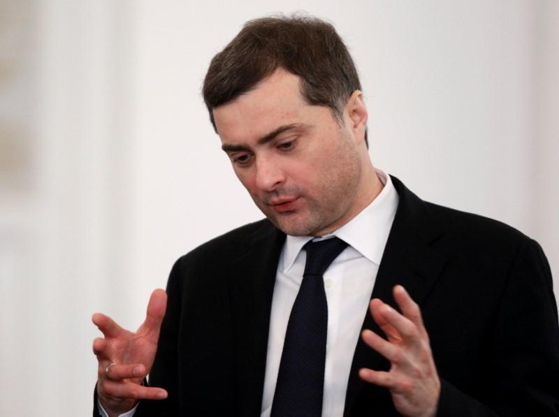 Top-level Kremlin advisor Vladislav Surkov speaks before Russia's President Dmitry Medvedev's last annual state of the nation address at the Kremlin in Moscow, Russia on Dec. 22, 2011. (REUTERS/Sergei Karpukhin)
