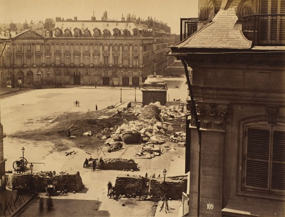 The remains of the Vendôme Column, after it was destroyed by Communards led by Gustave Courbet on May 16, 1871 in the Paris Commune. (Harris Brisbane Dick Fund, 1953)