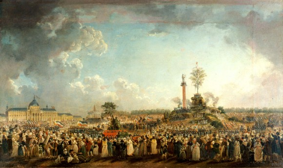 A painting shows the Festival of the Cult of the Supreme Being, 1794. (Pierre-Antoine Demachy [Public domain], via Wikimedia Commons)