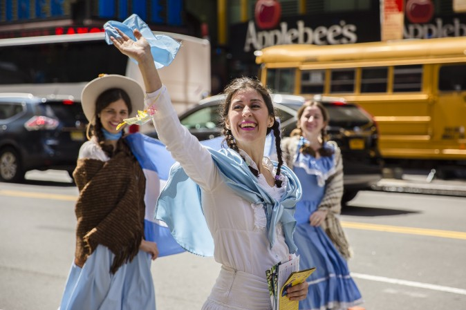 Falun Gong Practitioners from Argentina march in the World Falun Dafa Day parade in New York on May 12, 2017. (Samira Bouaou/The Epoch Times)