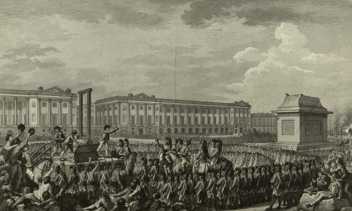 An engraving shows the beheading of Louis XVI during the French Revolution. (Bibliothèque nationale de France)