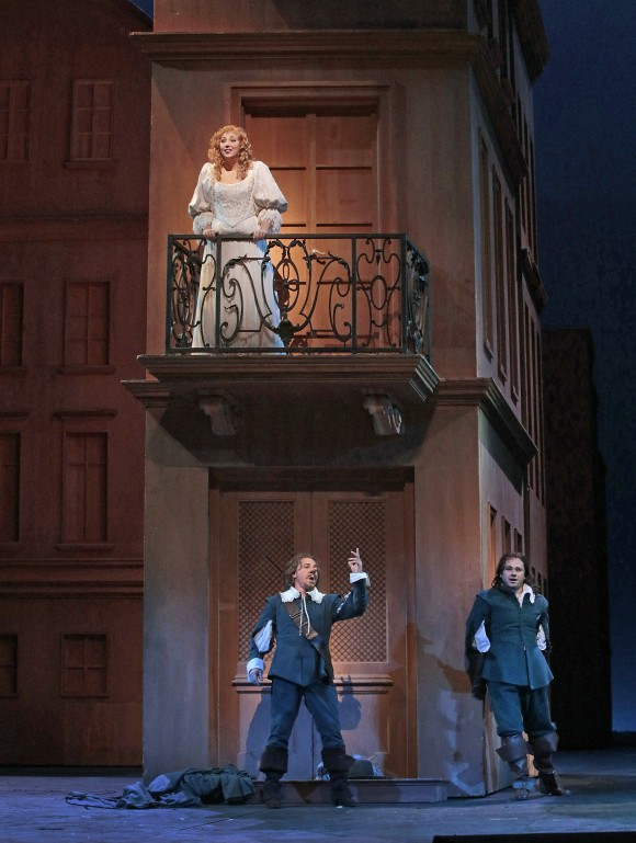 The famous balcony scene in which Roxane (Jennifer Rowley) loses her heart to the poetic Christian (Atalla Ayan) although, in truth, it is the poetry of Cyrano (Roberto Alagna ) she hears. (Ken Howard/Metropolitan Opera)