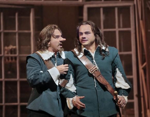 Roberto Alagna as Cyrano and Atalla Ayan as Christian. (Ken Howard/Metropolitan Opera)