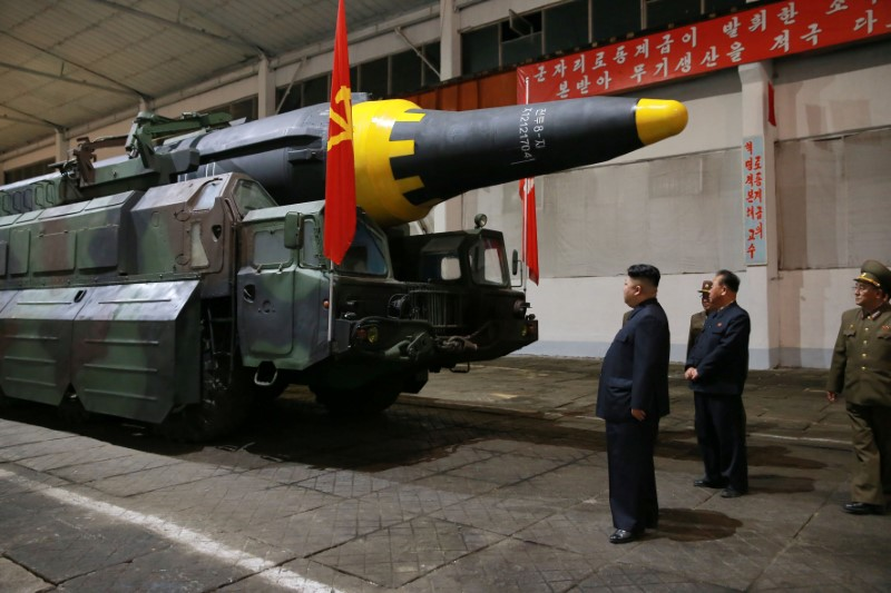 North Korean leader Kim Jong Un inspects the long-range strategic ballistic rocket Hwasong-12 (Mars-12) in this undated photo released by North Korea's Korean Central News Agency (KCNA) on May 15, 2017. (KCNA via REUTERS)