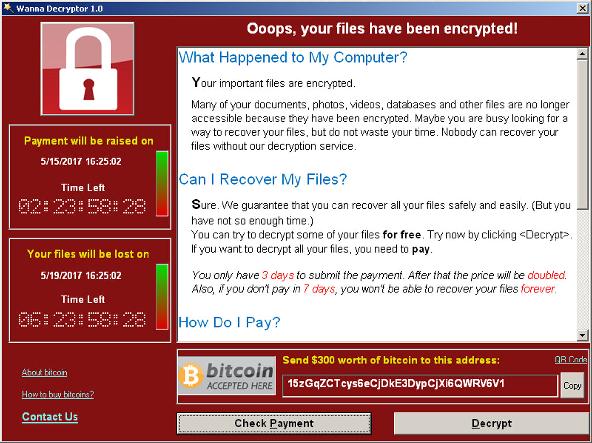 A screenshot shows a WannaCry ransomware demand, provided by cyber security firm Symantec, in  Mountain View, Calif., on May 15, 2017. (Courtesy of Symantec/Handout via REUTERS)