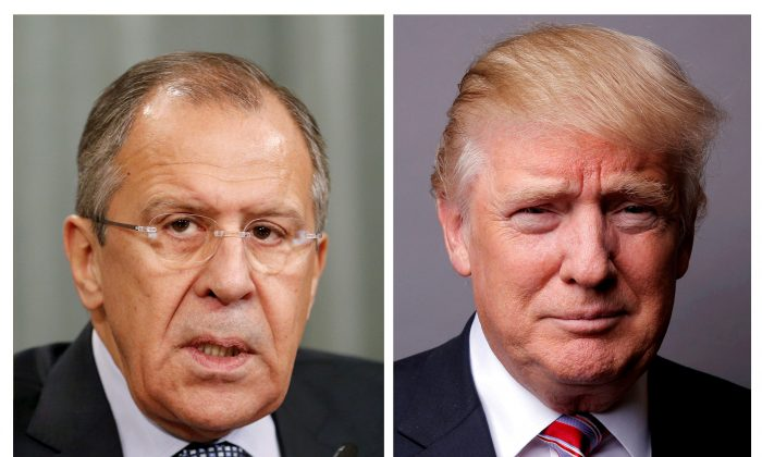 A combination of file photos showing Russian Foreign Minister Sergei Lavrov attending a news conference in Moscow, Russia on Nov. 18, 2015, and U.S. President Donald Trump posing for a photo in New York City on May 17, 2016. (REUTERS/Maxim Zmeyev/Lucas Jackson)