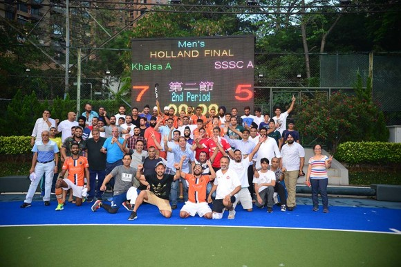 Khalsa-A and friends celebrate after winning the 2016-17 Holland Cup at King's Park on Sunday May 14, 2017. (Eddie So)