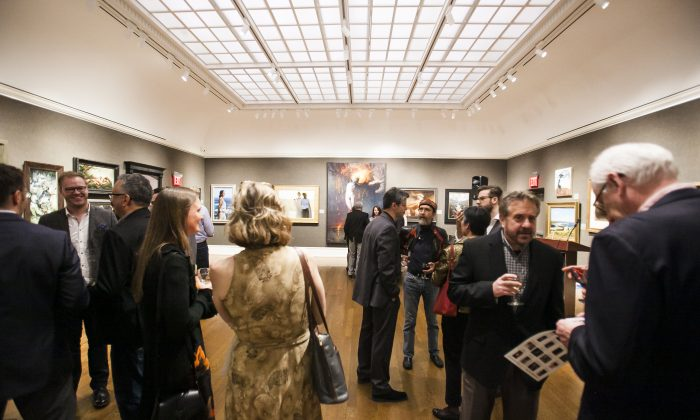 VIP Reception of 12th International ARC Salon Exhibition at the Salmagundi Club in Manhatan, New York, on May 12, 2017. (Milene Fernandez/The Epoch Times)