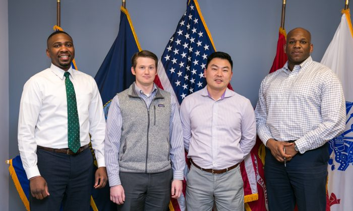 U.S. veterans Paul Lee, Matthew Murawski, Alex Kim, and Ben Downing at the Drexel Hamilton office in the Financial District of Manhattan on May 9, 2017. (Benjamin Chasteen/Epoch Times)