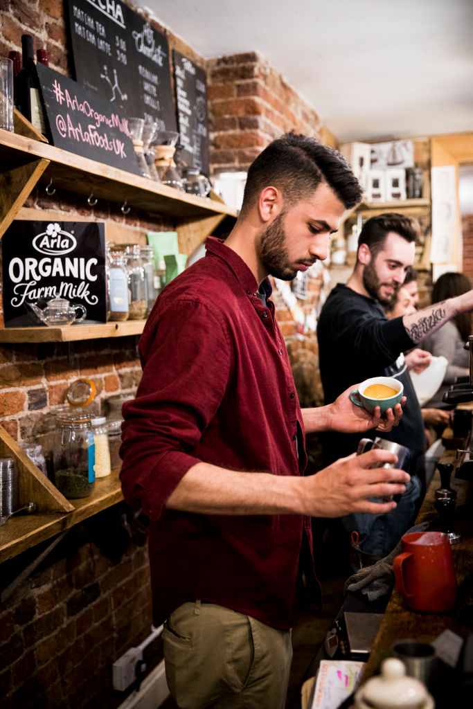 Baristas compete in the Arla Organic Farm Milk Latte Art Throwdown at The Gentlemen Baristas in London on April 12, 2017. (Getty Image)