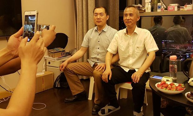 Li Heping (right), a prominent Chinese human rights lawyer, was released last week after nearly two years in prison. (Radio Free Asia)