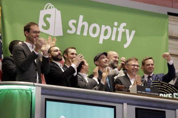 Shopify's IPO on May 21, 2015. The Canadian tech darling is now worth over $10 billion after raising just over $100 million at IPO. (AP Photo/Richard Drew)