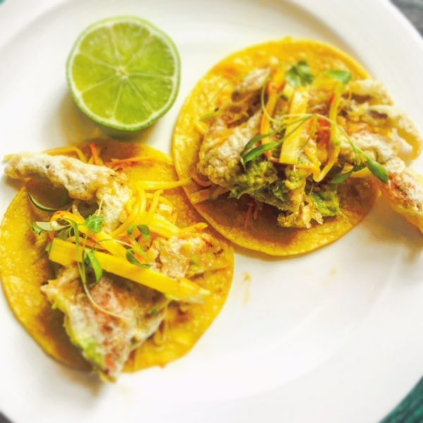 Soft shell crab tacos. (Courtesy of Toloache)