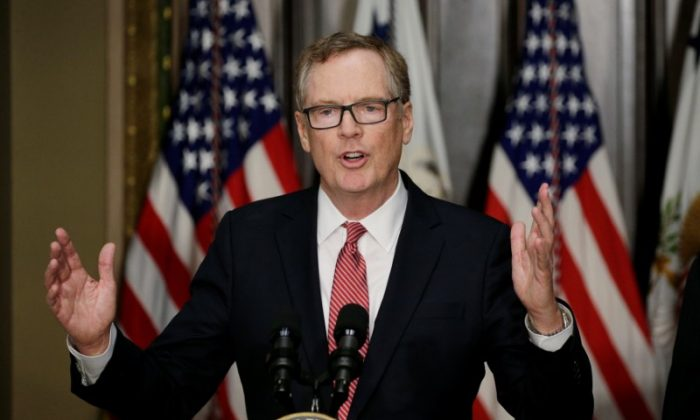 Robert Lighthizer speaks after he was sworn as U.S. Trade Representative during a ceremony at the White House in Washington on May 15, 2017. (REUTERS/Kevin Lamarque)