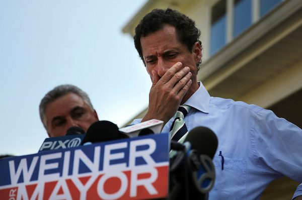 Anthony Weiner speaking with reporters