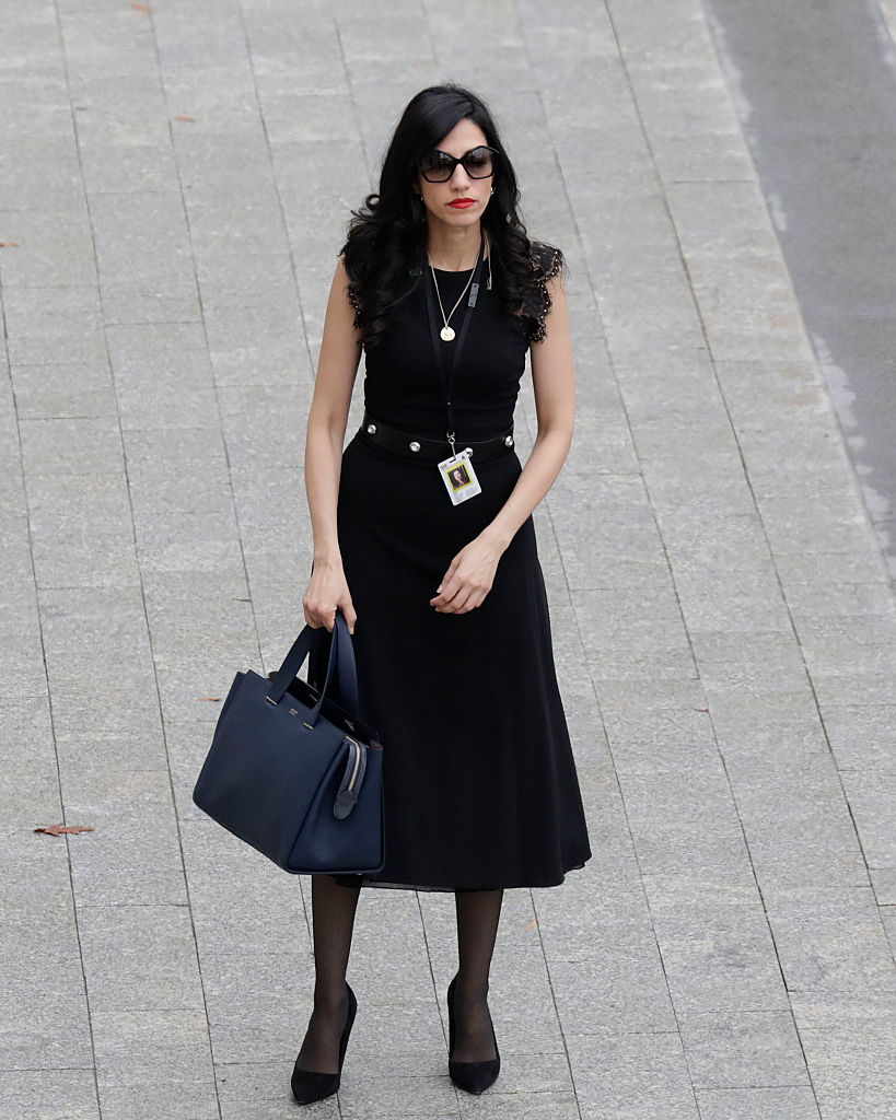 Huma Abedin arrives near the east front steps of the Capitol Building before President-elect Donald Trump is sworn in at the 58th Presidential Inauguration on Capitol Hill in Washington on January 20, 2017. (JOHN ANGELILLO/AFP/Getty Images)